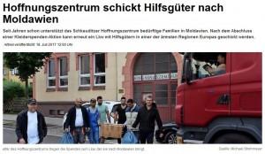 Hilfstransport Zeitungsartikel 07.2017